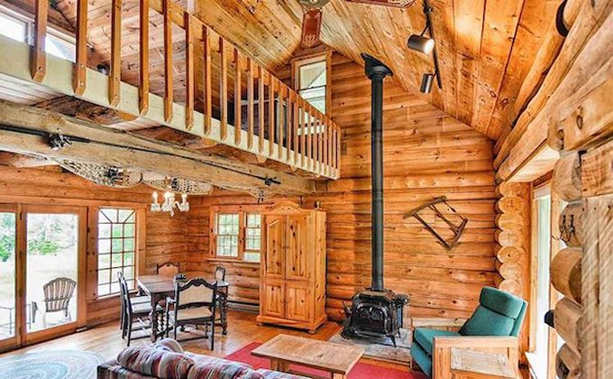 Cozy log cabin interior