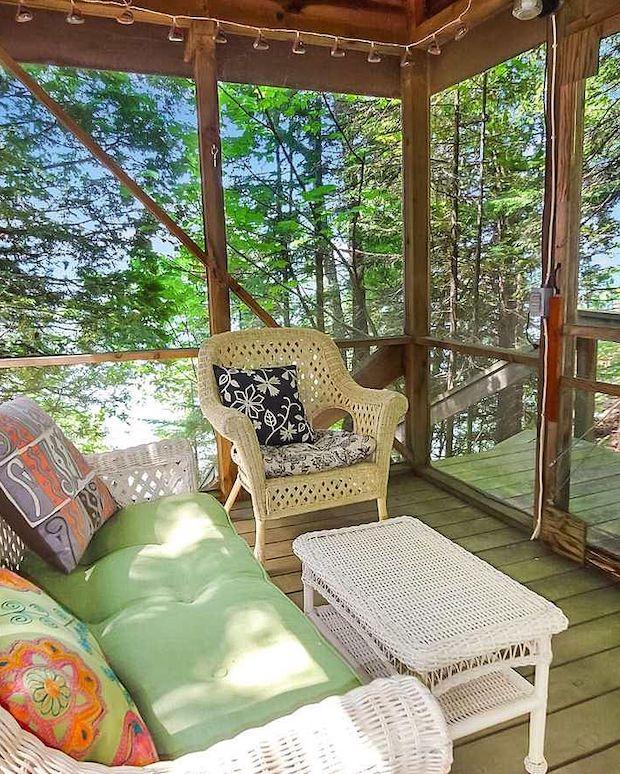 Cozy log cabin porch