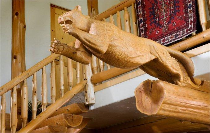 Full scribe log home interior details