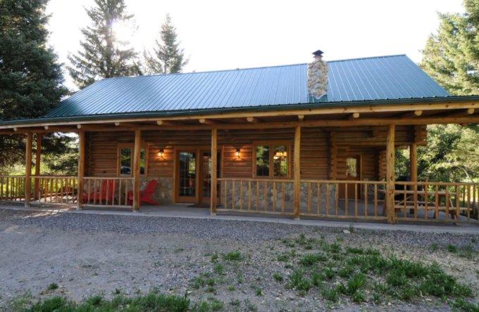 Hillside log cabin
