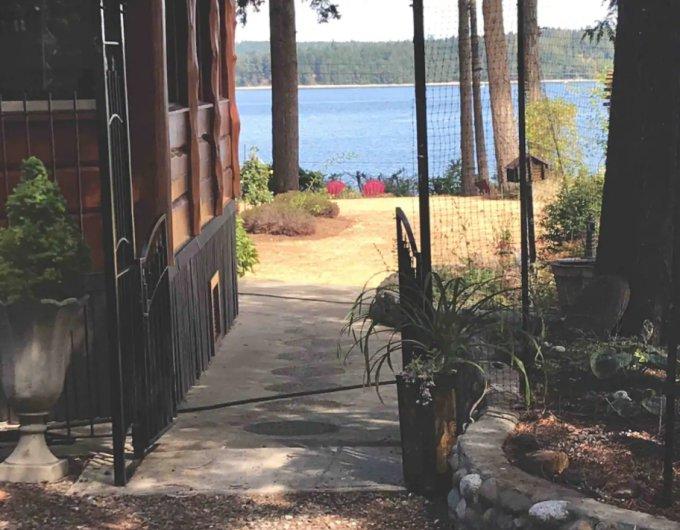 Log house backyard