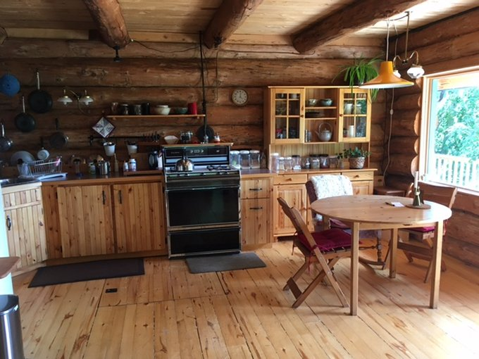 Off grid log cabin