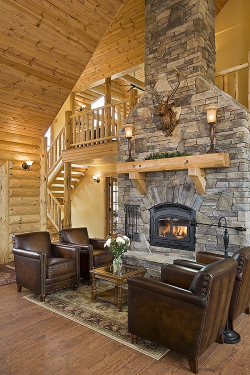 Log home in Montana, fireplace
