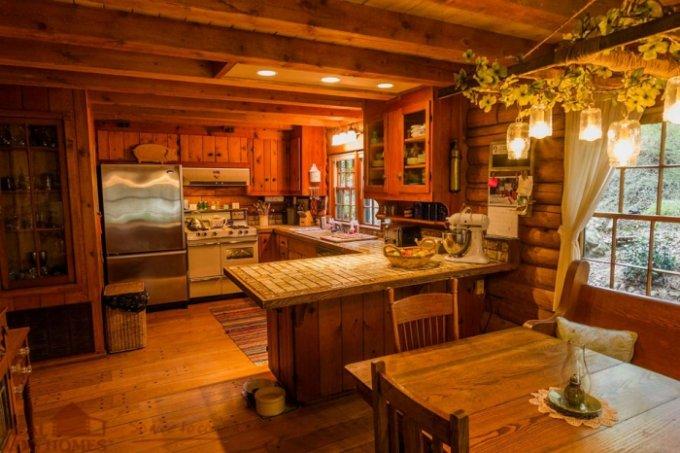 One story log house interior