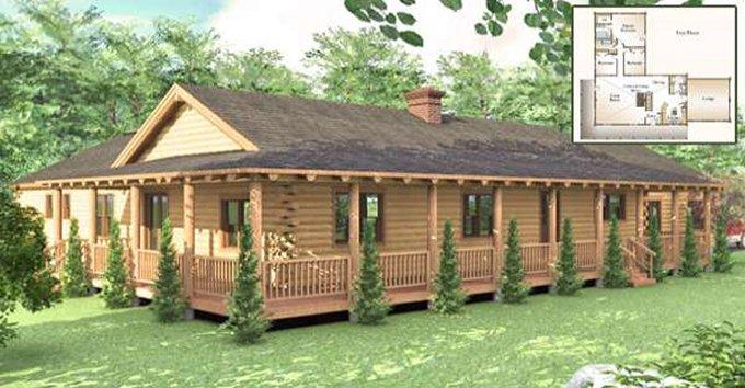 One story log house